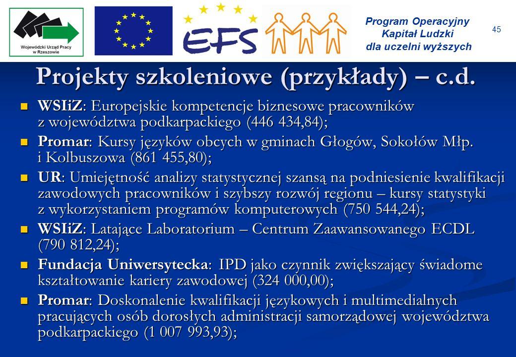 45 Program Operacyjny Kapitał Ludzki dla uczelni wyższych Projekty szkoleniowe (przykłady) – c.d. WSIiZ: Europejskie kompetencje biznesowe pracowników