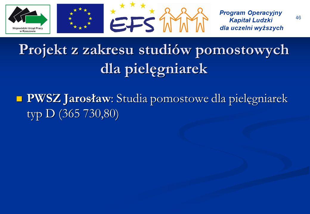 46 Program Operacyjny Kapitał Ludzki dla uczelni wyższych Projekt z zakresu studiów pomostowych dla pielęgniarek PWSZ Jarosław: Studia pomostowe dla p
