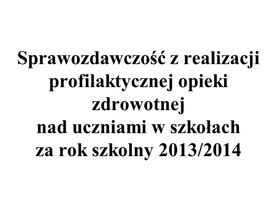 Sprawozdawczość z realizacji profilaktycznej opieki zdrowotnej nad uczniami w szkołach za rok szkolny 2013/2014