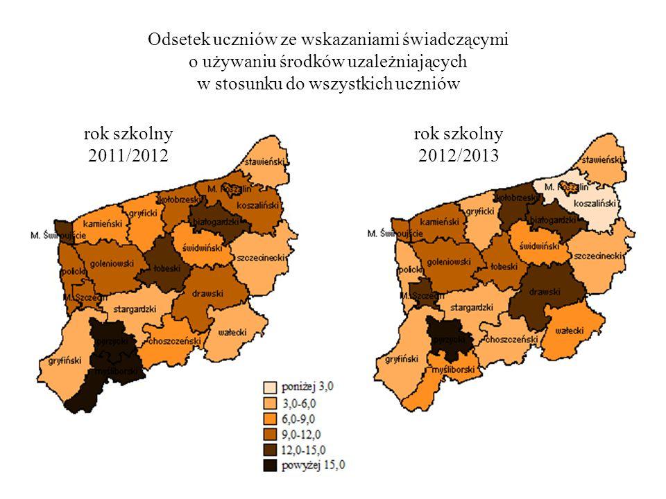 Odsetek uczniów ze wskazaniami świadczącymi o używaniu środków uzależniających w stosunku do wszystkich uczniów rok szkolny 2011/2012 rok szkolny 2012/2013