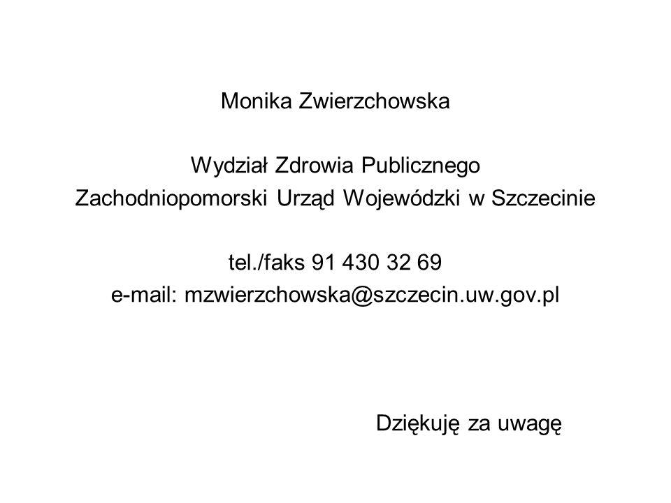 Monika Zwierzchowska Wydział Zdrowia Publicznego Zachodniopomorski Urząd Wojewódzki w Szczecinie tel./faks 91 430 32 69 e-mail: mzwierzchowska@szczecin.uw.gov.pl Dziękuję za uwagę