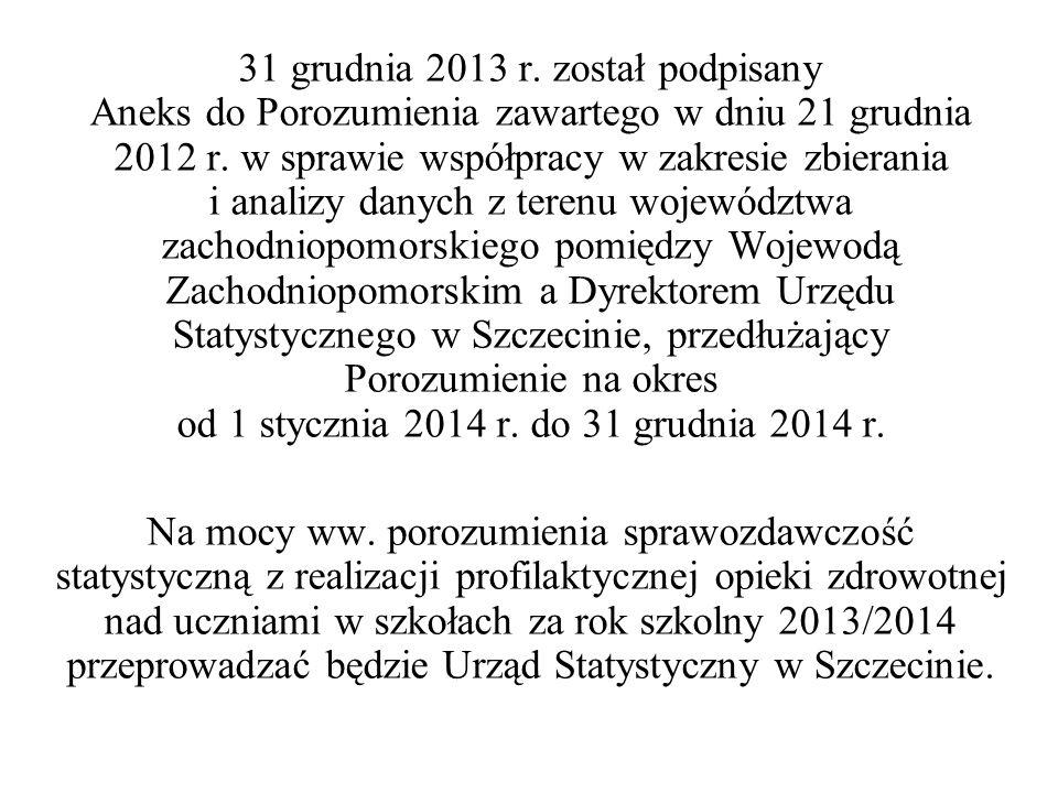 31 grudnia 2013 r. został podpisany Aneks do Porozumienia zawartego w dniu 21 grudnia 2012 r. w sprawie współpracy w zakresie zbierania i analizy dany