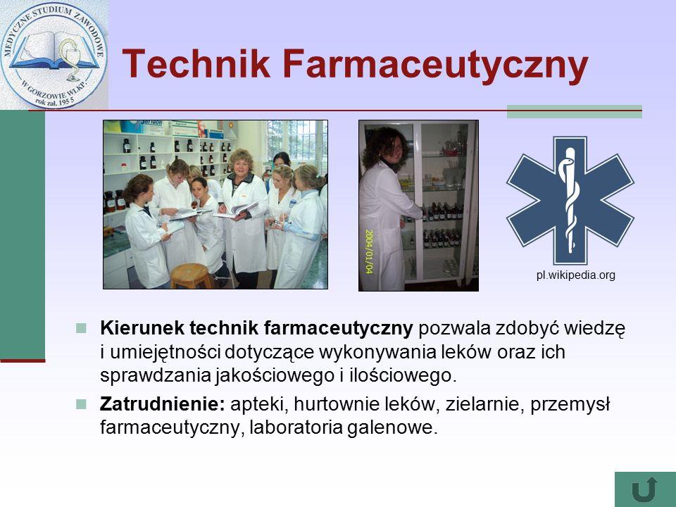 Technik Farmaceutyczny Kierunek technik farmaceutyczny pozwala zdobyć wiedzę i umiejętności dotyczące wykonywania leków oraz ich sprawdzania jakościowego i ilościowego.