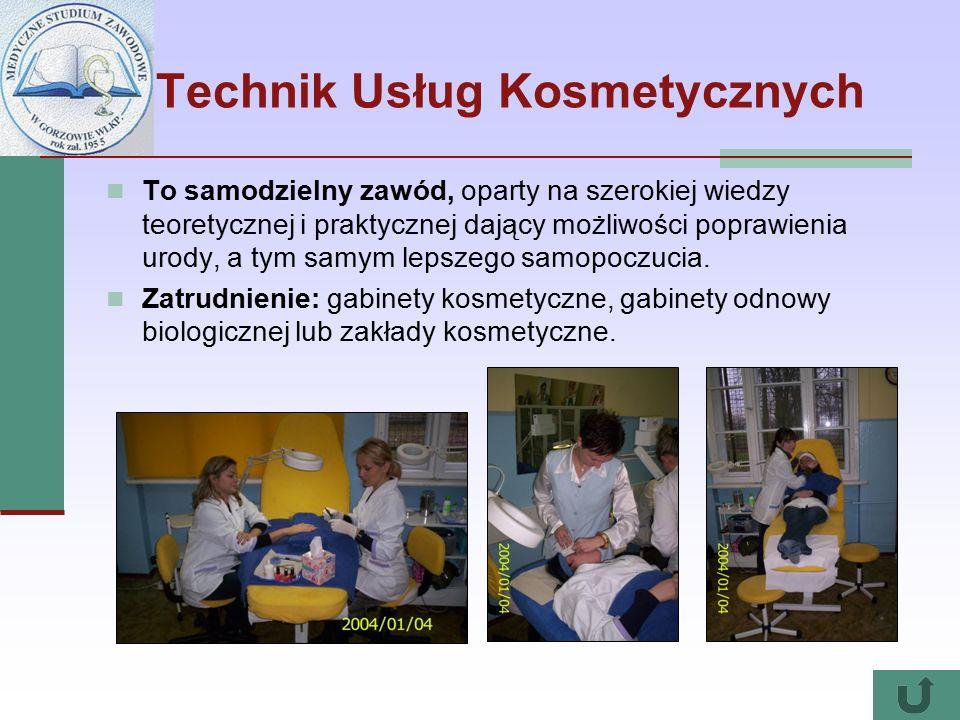Technik Usług Kosmetycznych To samodzielny zawód, oparty na szerokiej wiedzy teoretycznej i praktycznej dający możliwości poprawienia urody, a tym sam
