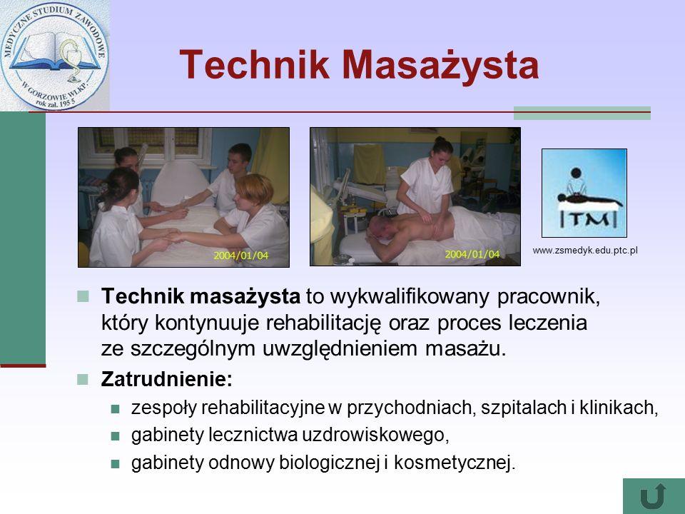 Technik Masażysta Technik masażysta to wykwalifikowany pracownik, który kontynuuje rehabilitację oraz proces leczenia ze szczególnym uwzględnieniem masażu.