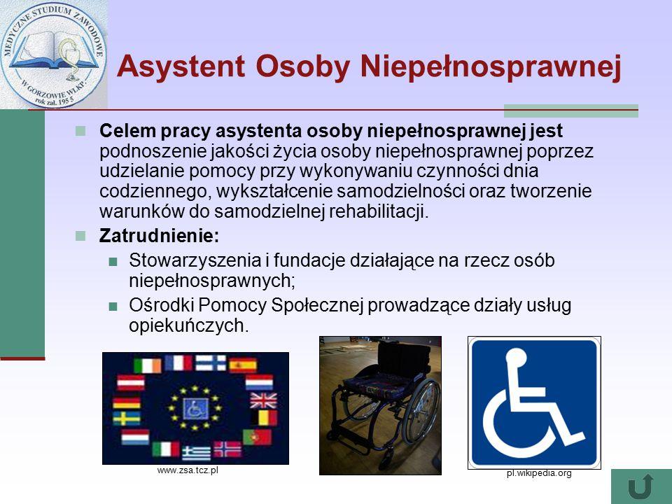 Asystent Osoby Niepełnosprawnej Celem pracy asystenta osoby niepełnosprawnej jest podnoszenie jakości życia osoby niepełnosprawnej poprzez udzielanie pomocy przy wykonywaniu czynności dnia codziennego, wykształcenie samodzielności oraz tworzenie warunków do samodzielnej rehabilitacji.