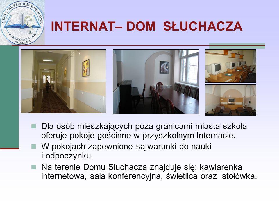INTERNAT– DOM SŁUCHACZA Dla osób mieszkających poza granicami miasta szkoła oferuje pokoje gościnne w przyszkolnym Internacie. W pokojach zapewnione s