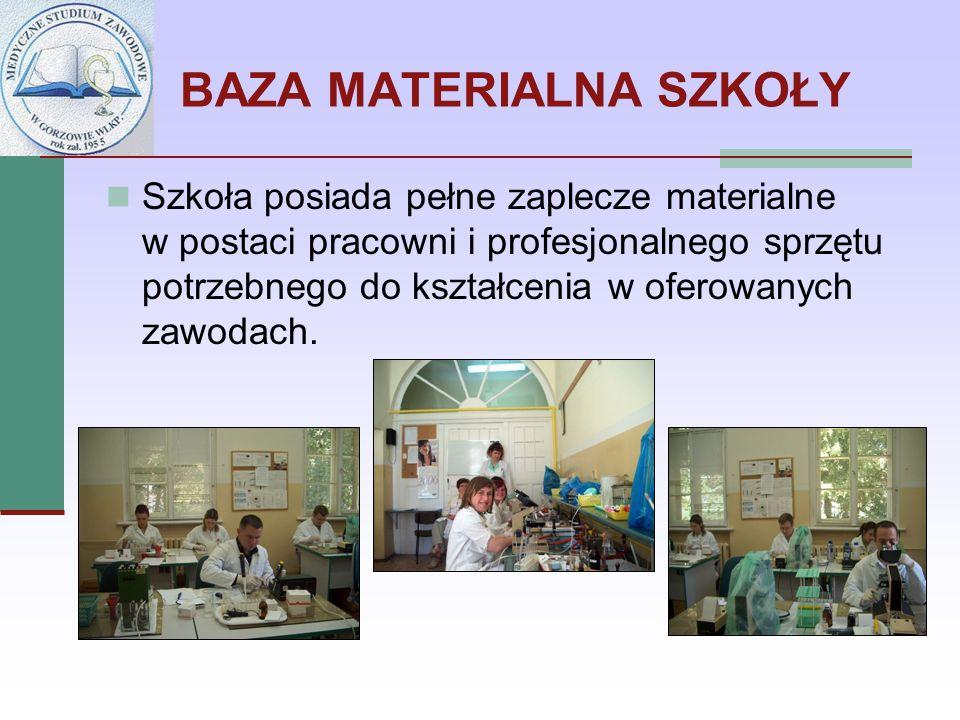 BAZA MATERIALNA SZKOŁY Szkoła posiada pełne zaplecze materialne w postaci pracowni i profesjonalnego sprzętu potrzebnego do kształcenia w oferowanych