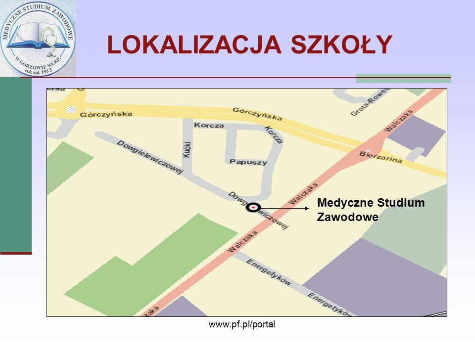 LOKALIZACJA SZKOŁY Medyczne Studium Zawodowe www.pf.pl/portal