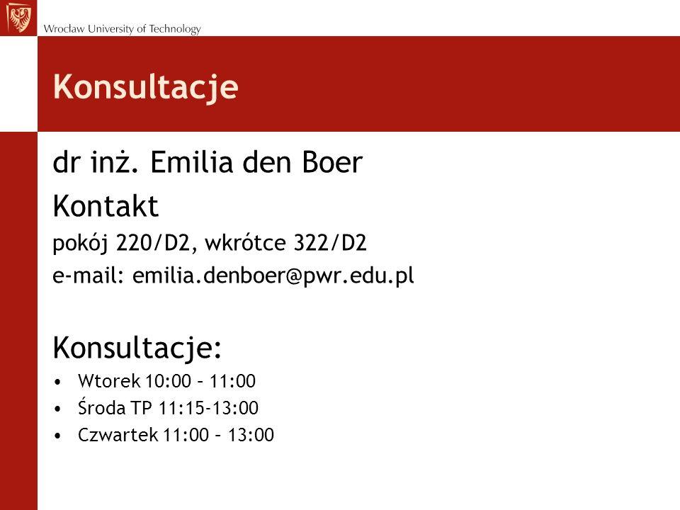 Konsultacje dr inż. Emilia den Boer Kontakt pokój 220/D2, wkrótce 322/D2 e-mail: emilia.denboer@pwr.edu.pl Konsultacje: Wtorek 10:00 – 11:00 Środa TP