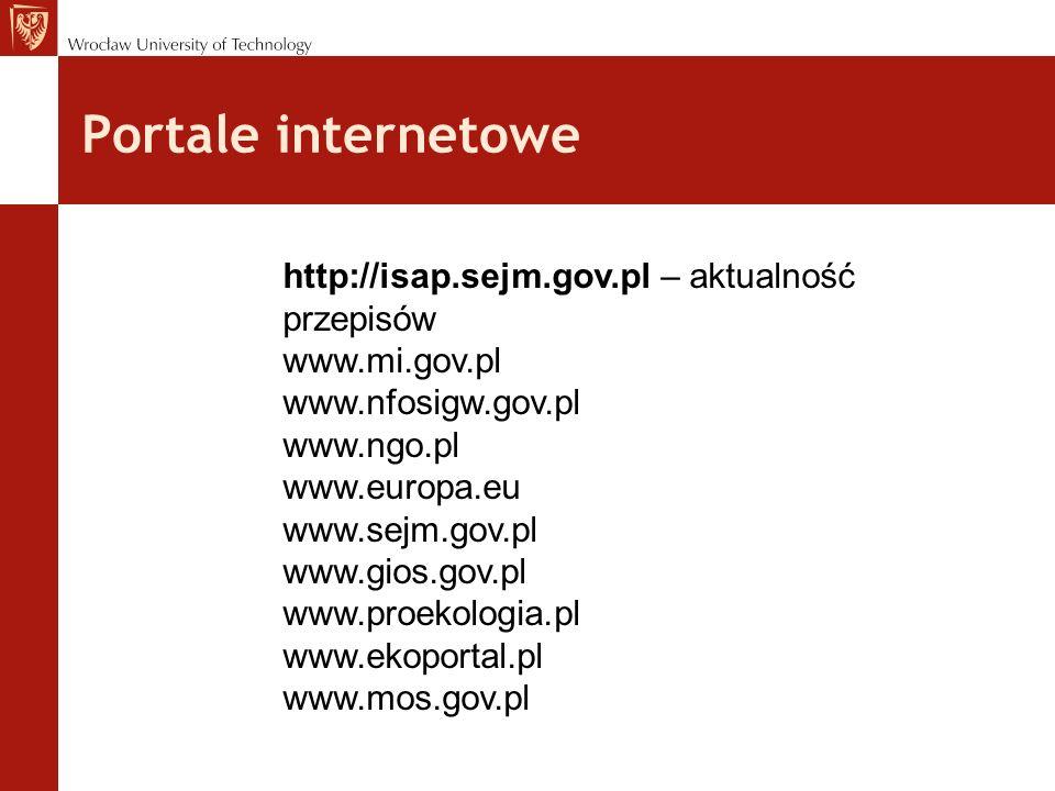 http://isap.sejm.gov.pl – aktualność przepisów www.mi.gov.pl www.nfosigw.gov.pl www.ngo.pl www.europa.eu www.sejm.gov.pl www.gios.gov.pl www.proekologia.pl www.ekoportal.pl www.mos.gov.pl Portale internetowe