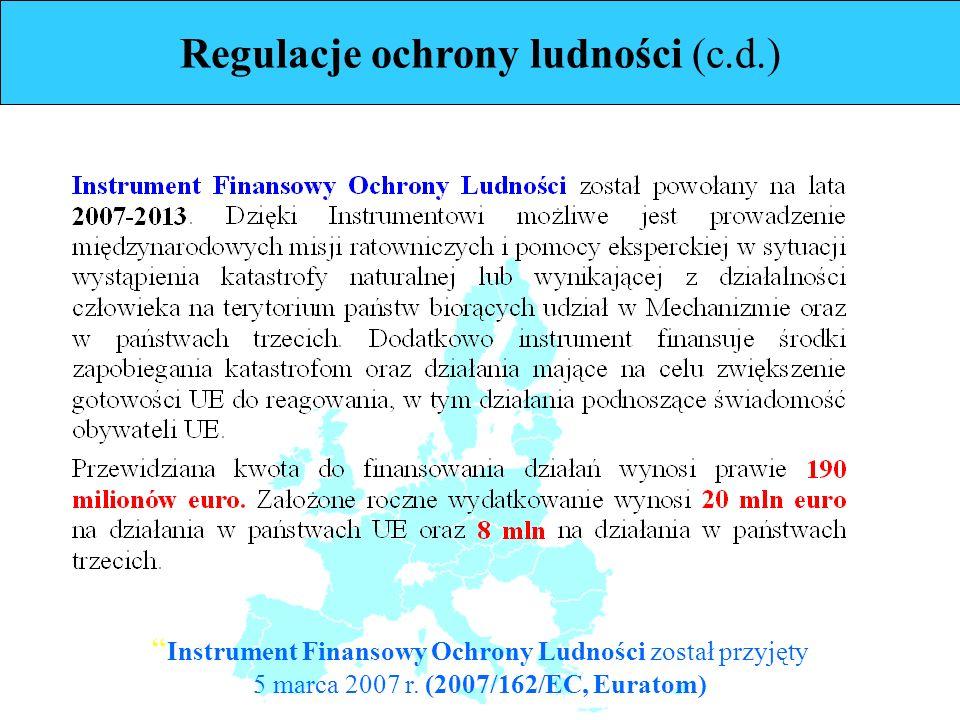 Instrument Finansowy Ochrony Ludności został przyjęty 5 marca 2007 r. (2007/162/EC, Euratom)