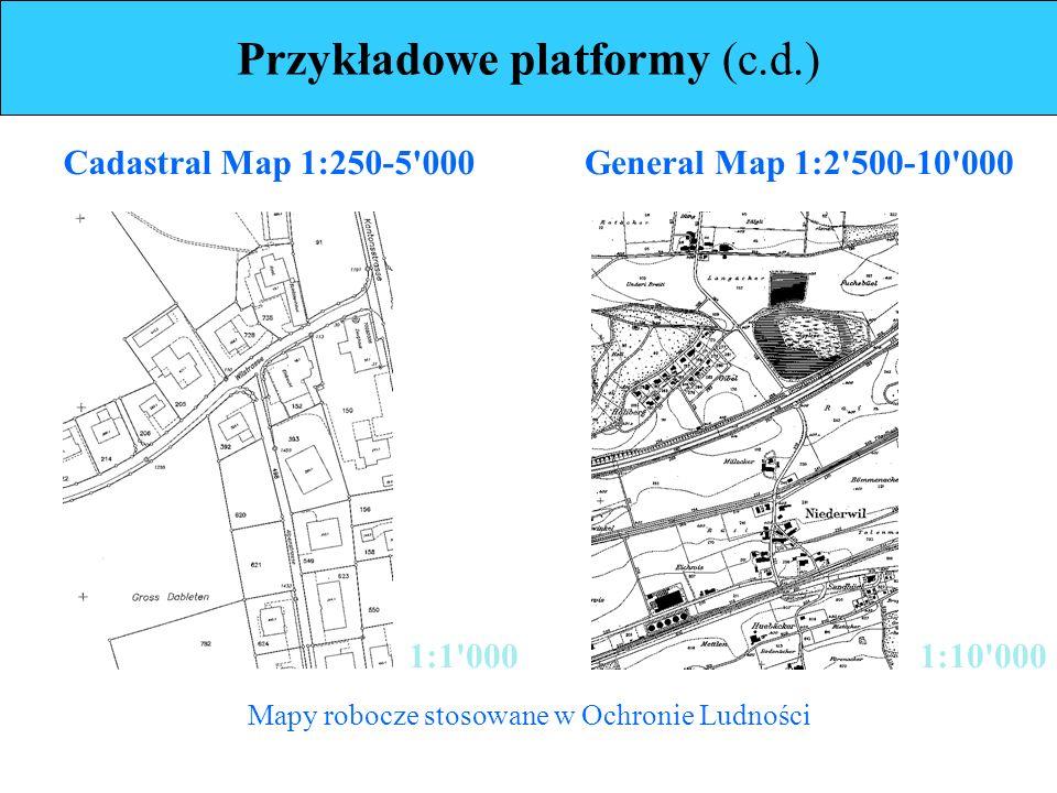 Przykładowe platformy (c.d.) Mapy robocze stosowane w Ochronie Ludności 1:1 000 Cadastral Map 1:250-5 000General Map 1:2 500-10 000 1:10 000