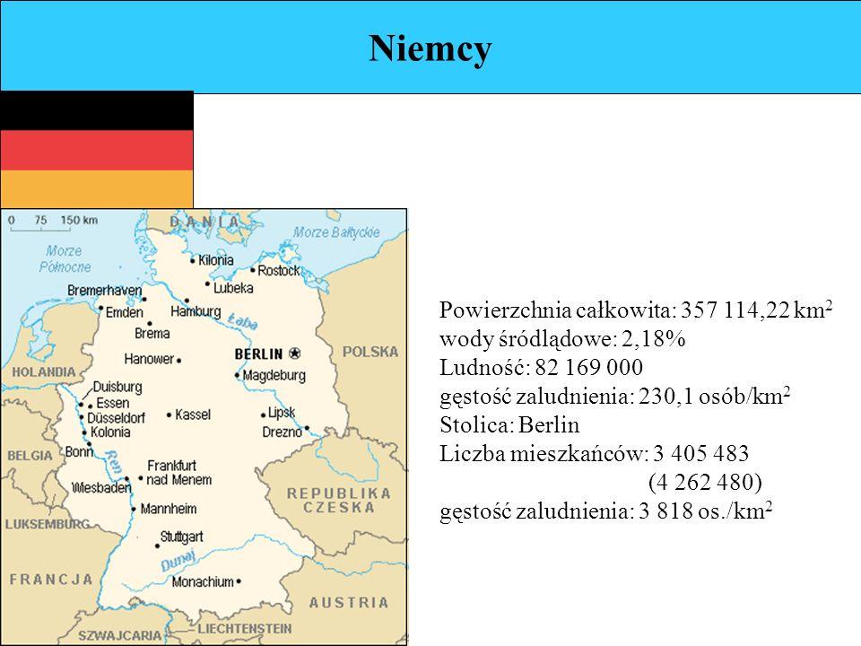 Niemcy Powierzchnia całkowita: 357 114,22 km 2 wody śródlądowe: 2,18% Ludność: 82 169 000 gęstość zaludnienia: 230,1 osób/km 2 Stolica: Berlin Liczba mieszkańców: 3 405 483 (4 262 480) gęstość zaludnienia: 3 818 os./km 2