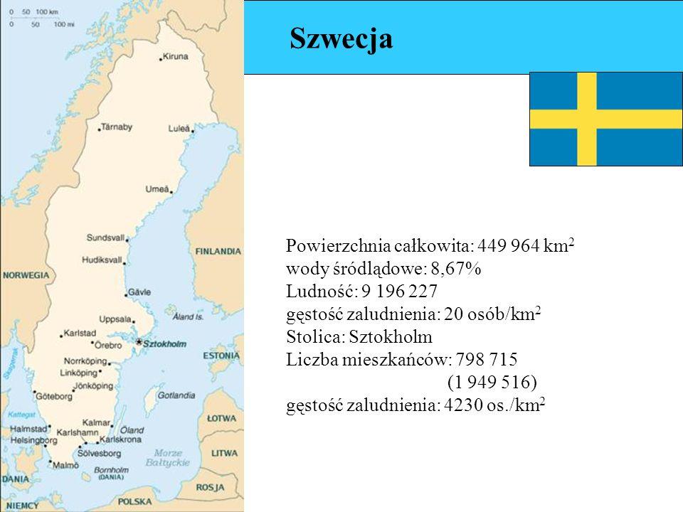 Szwecja Powierzchnia całkowita: 449 964 km 2 wody śródlądowe: 8,67% Ludność: 9 196 227 gęstość zaludnienia: 20 osób/km 2 Stolica: Sztokholm Liczba mieszkańców: 798 715 (1 949 516) gęstość zaludnienia: 4230 os./km 2