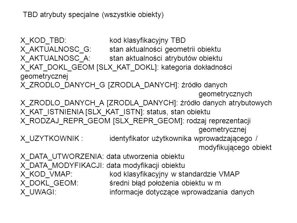 X_KOD_TBD: kod klasyfikacyjny TBD X_AKTUALNOSC_G: stan aktualności geometrii obiektu X_AKTUALNOSC_A: stan aktualności atrybutów obiektu X_KAT_DOKL_GEOM [SLX_KAT_DOKL]: kategoria dokładności geometrycznej X_ZRODLO_DANYCH_G [ZRODLA_DANYCH]: źródło danych geometrycznych X_ZRODLO_DANYCH_A [ZRODLA_DANYCH]: źródło danych atrybutowych X_KAT_ISTNIENIA [SLX_KAT_ISTN]: status, stan obiektu X_RODZAJ_REPR_GEOM [SLX_REPR_GEOM]: rodzaj reprezentacji geometrycznej X_UZYTKOWNIK : identyfikator użytkownika wprowadzającego / modyfikującego obiekt X_DATA_UTWORZENIA: data utworzenia obiektu X_DATA_MODYFIKACJI: data modyfikacji obiektu X_KOD_VMAP: kod klasyfikacyjny w standardzie VMAP X_DOKL_GEOM: średni błąd położenia obiektu w m X_UWAGI: informacje dotyczące wprowadzania danych TBD atrybuty specjalne (wszystkie obiekty)