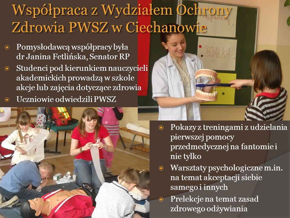  Pokazy z treningami z udzielania pierwszej pomocy przedmedycznej na fantomie i nie tylko  Warsztaty psychologiczne m.in.