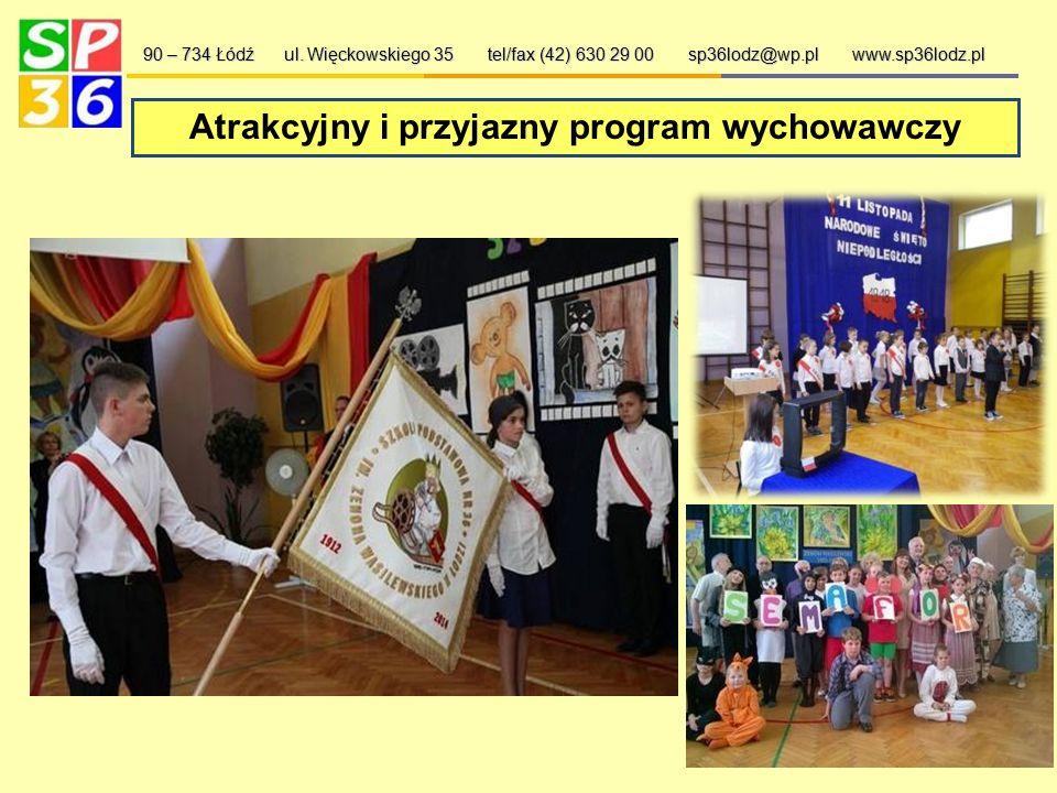 Oferta szkoły: 90 – 734 Łódź ul. Więckowskiego 35 tel/fax (42) 630 29 00 sp36lodz@wp.pl www.sp36lodz.pl  dwie sale gimnastyczne,  plac zabaw z progr