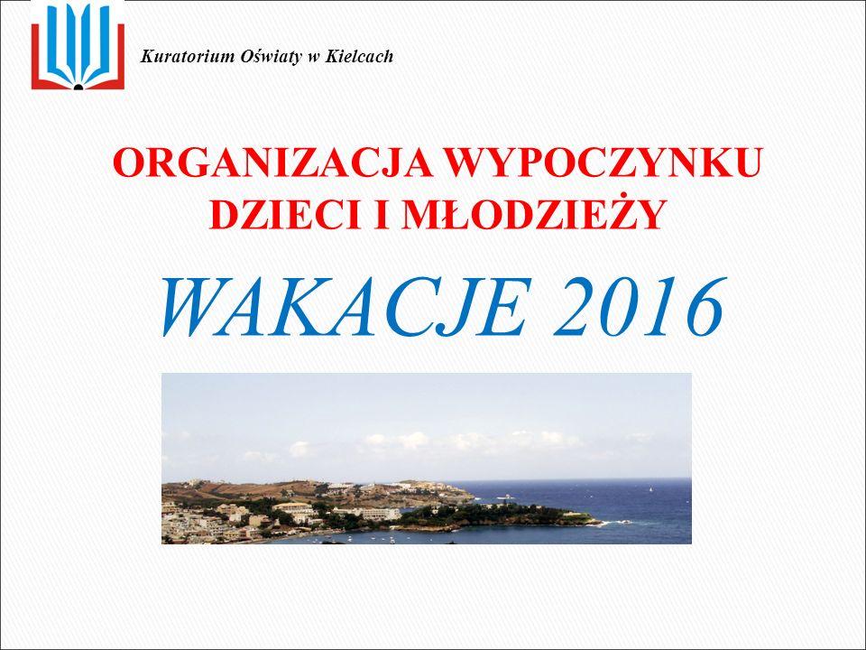 ORGANIZACJA WYPOCZYNKU DZIECI I MŁODZIEŻY WAKACJE 2016 Kuratorium Oświaty w Kielcach
