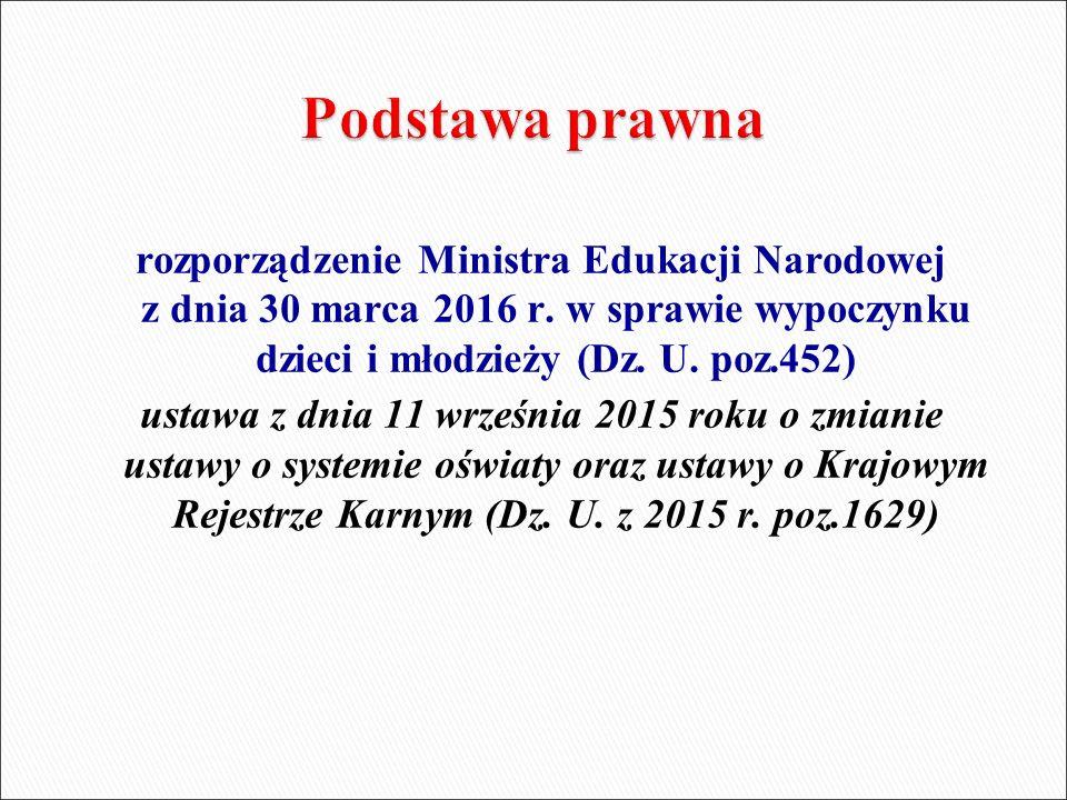 rozporządzenie Ministra Edukacji Narodowej z dnia 30 marca 2016 r. w sprawie wypoczynku dzieci i młodzieży (Dz. U. poz.452) ustawa z dnia 11 września