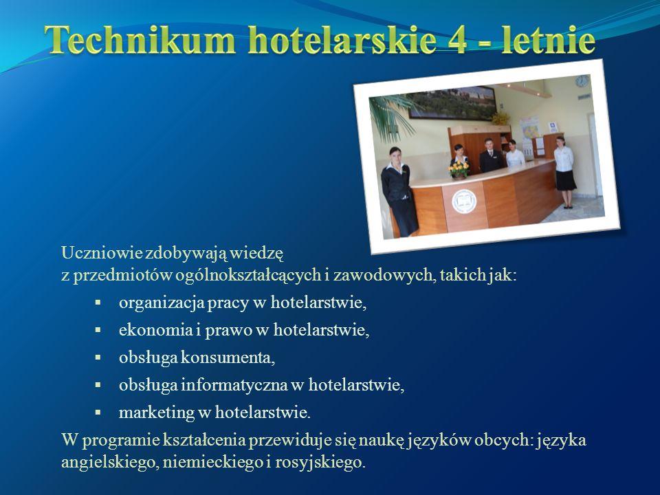 Uczniowie zdobywają wiedzę z przedmiotów ogólnokształcących i zawodowych, takich jak:  organizacja pracy w hotelarstwie,  ekonomia i prawo w hotelarstwie,  obsługa konsumenta,  obsługa informatyczna w hotelarstwie,  marketing w hotelarstwie.