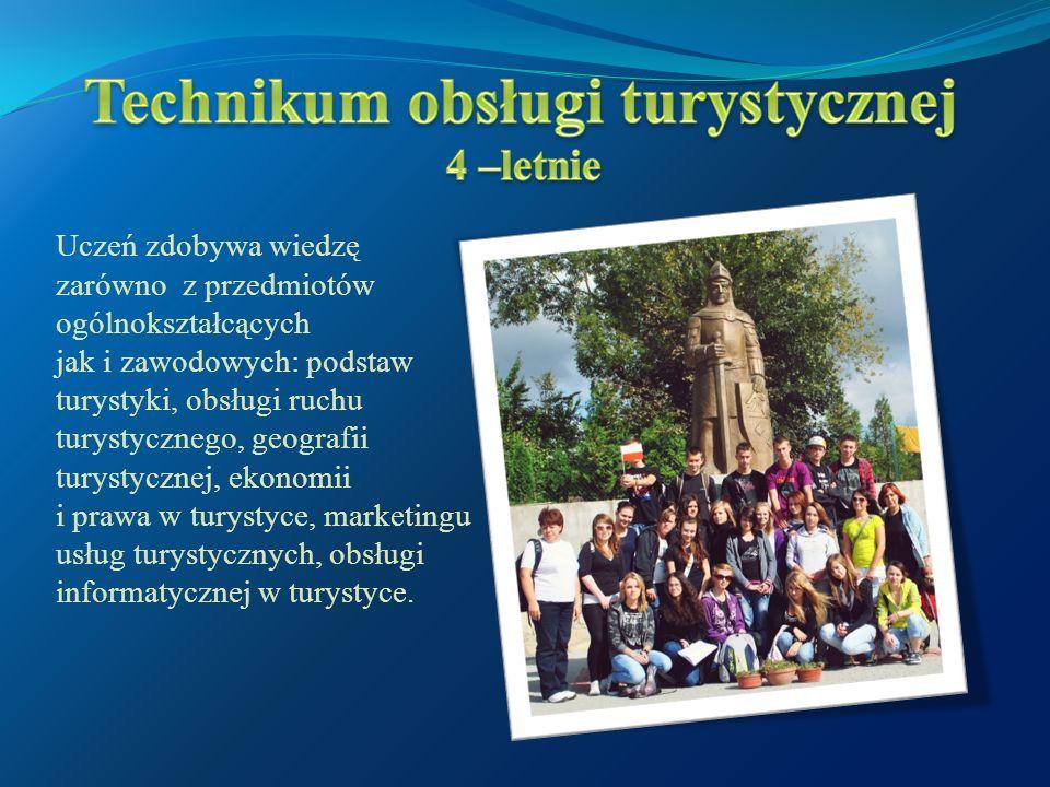 Uczeń zdobywa wiedzę zarówno z przedmiotów ogólnokształcących jak i zawodowych: podstaw turystyki, obsługi ruchu turystycznego, geografii turystycznej, ekonomii i prawa w turystyce, marketingu usług turystycznych, obsługi informatycznej w turystyce.