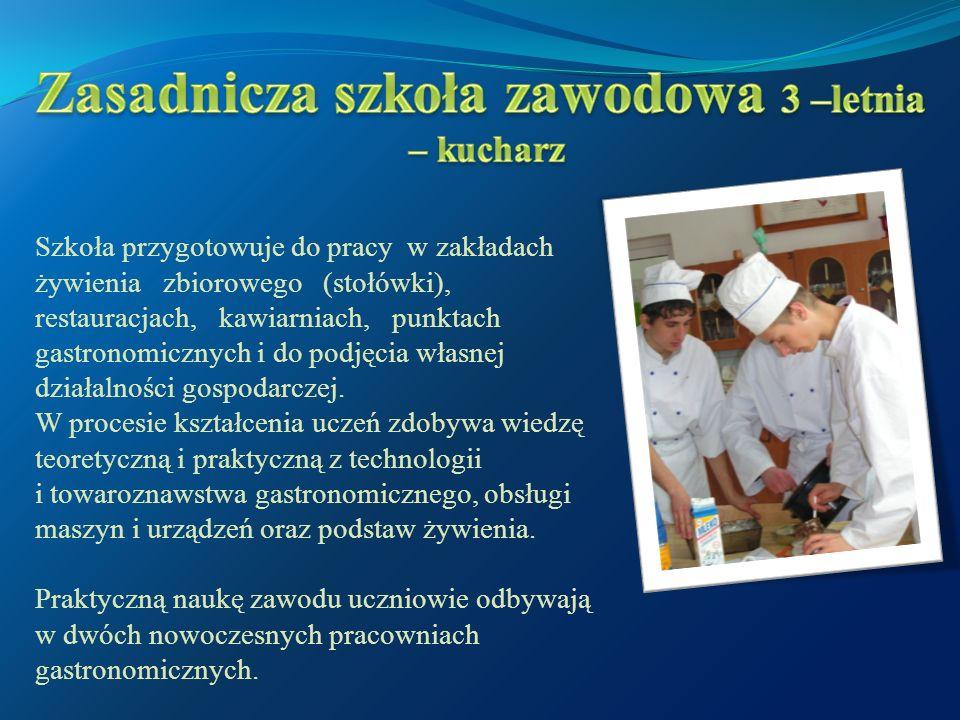 Szkoła przygotowuje do pracy w zakładach żywienia zbiorowego (stołówki), restauracjach, kawiarniach, punktach gastronomicznych i do podjęcia własnej działalności gospodarczej.