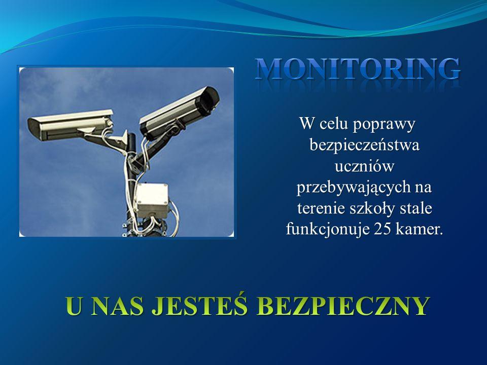 W celu poprawy bezpieczeństwa uczniów przebywających na terenie szkoły stale funkcjonuje 25 kamer.