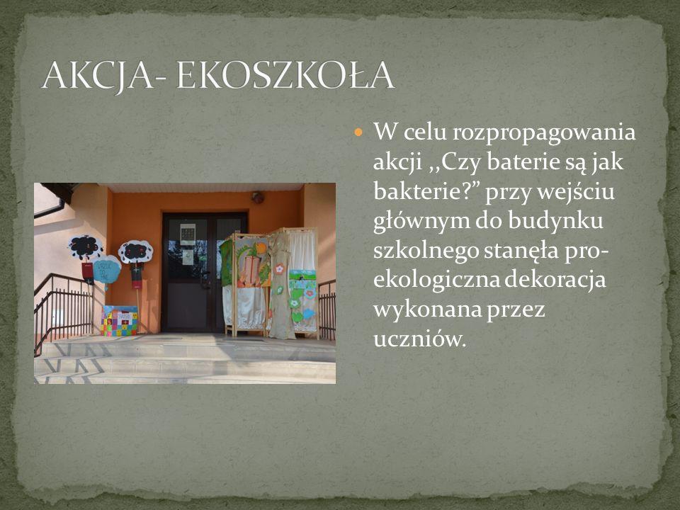 W celu rozpropagowania akcji,,Czy baterie są jak bakterie? przy wejściu głównym do budynku szkolnego stanęła pro- ekologiczna dekoracja wykonana przez uczniów.
