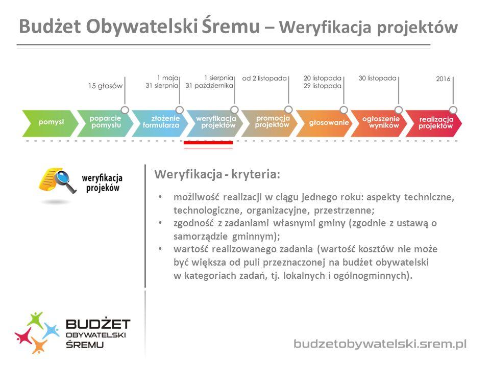 Budżet Obywatelski Śremu – Weryfikacja projektów Weryfikacja - kryteria: możliwość realizacji w ciągu jednego roku: aspekty techniczne, technologiczne, organizacyjne, przestrzenne; zgodność z zadaniami własnymi gminy (zgodnie z ustawą o samorządzie gminnym); wartość realizowanego zadania (wartość kosztów nie może być większa od puli przeznaczonej na budżet obywatelski w kategoriach zadań, tj.