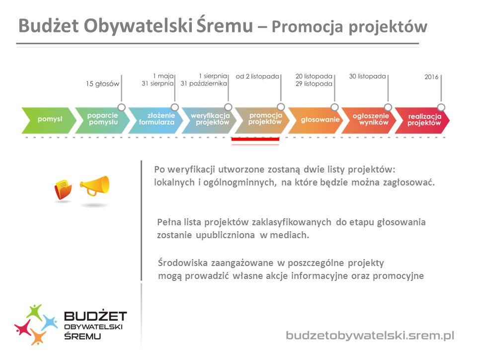 Budżet Obywatelski Śremu – Promocja projektów Po weryfikacji utworzone zostaną dwie listy projektów: lokalnych i ogólnogminnych, na które będzie można zagłosować.