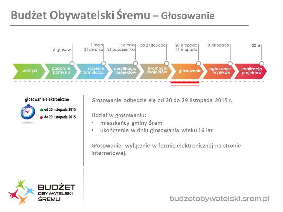Budżet Obywatelski Śremu – Głosowanie Głosowanie odbędzie się od 20 do 29 listopada 2015 r.