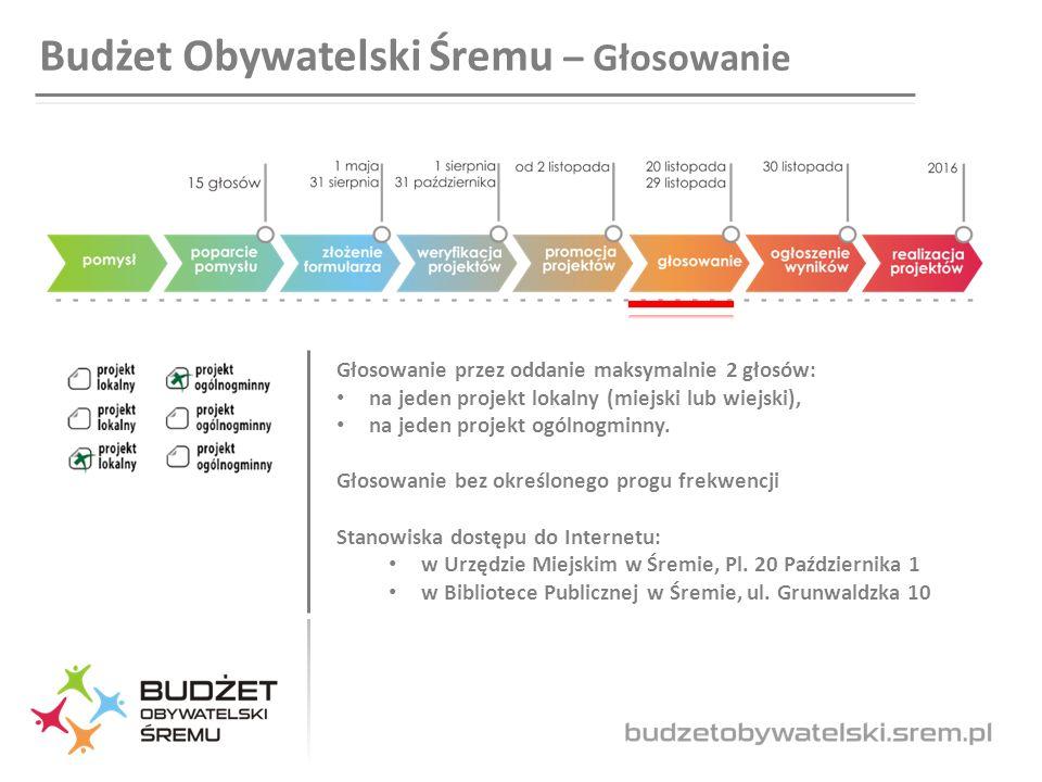 Budżet Obywatelski Śremu – Głosowanie Głosowanie przez oddanie maksymalnie 2 głosów: na jeden projekt lokalny (miejski lub wiejski), na jeden projekt ogólnogminny.