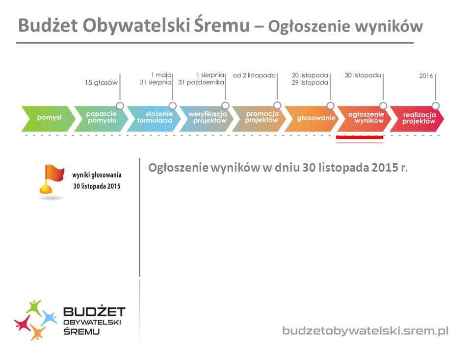 Budżet Obywatelski Śremu – Ogłoszenie wyników Ogłoszenie wyników w dniu 30 listopada 2015 r.