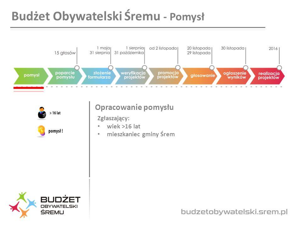 Budżet Obywatelski Śremu - Pomysł Opracowanie pomysłu Zgłaszający: wiek >16 lat mieszkaniec gminy Śrem