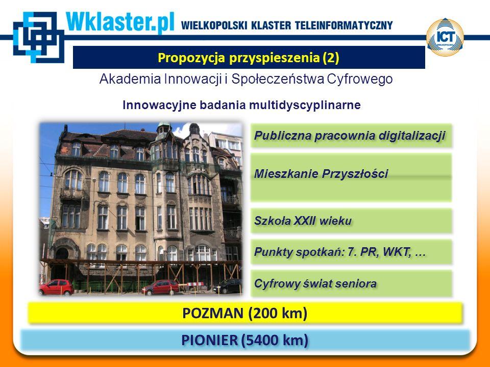 Propozycja przyspieszenia (2) Akademia Innowacji i Społeczeństwa Cyfrowego PIONIER (5400 km) POZMAN (200 km) Cyfrowy świat seniora Punkty spotkań: 7.