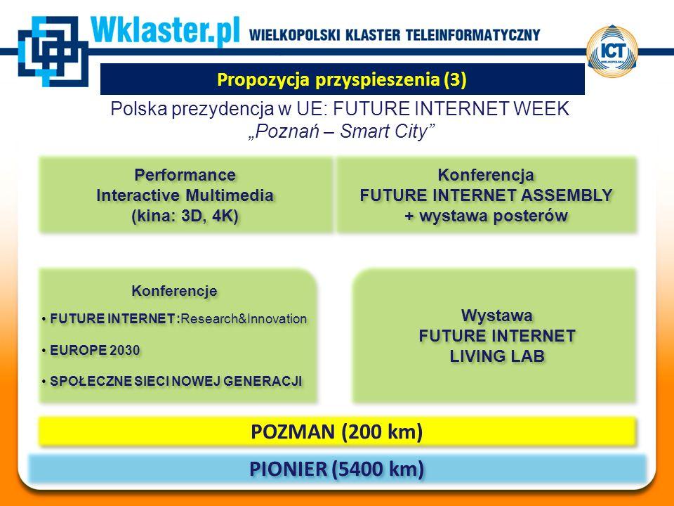 """Propozycja przyspieszenia (3) Polska prezydencja w UE: FUTURE INTERNET WEEK """"Poznań – Smart City PIONIER (5400 km) POZMAN (200 km) Performance Interactive Multimedia (kina: 3D, 4K) Performance Interactive Multimedia (kina: 3D, 4K) Konferencje FUTURE INTERNET :Research&Innovation EUROPE 2030 SPOŁECZNE SIECI NOWEJ GENERACJI Konferencje FUTURE INTERNET :Research&Innovation EUROPE 2030 SPOŁECZNE SIECI NOWEJ GENERACJI Konferencja FUTURE INTERNET ASSEMBLY + wystawa posterów Konferencja FUTURE INTERNET ASSEMBLY + wystawa posterów Wystawa FUTURE INTERNET LIVING LAB Wystawa FUTURE INTERNET LIVING LAB"""