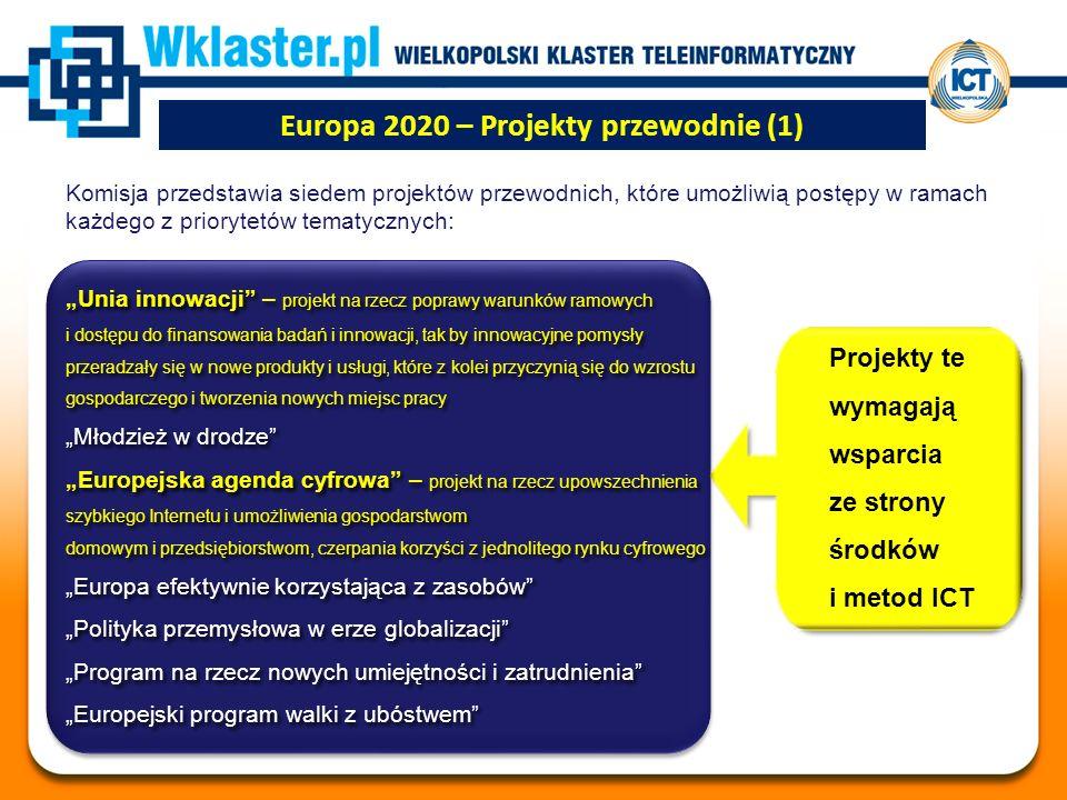 """Europa 2020 – Projekty przewodnie (1) Komisja przedstawia siedem projektów przewodnich, które umożliwią postępy w ramach każdego z priorytetów tematycznych: """"Unia innowacji – projekt na rzecz poprawy warunków ramowych i dostępu do finansowania badań i innowacji, tak by innowacyjne pomysły przeradzały się w nowe produkty i usługi, które z kolei przyczynią się do wzrostu gospodarczego i tworzenia nowych miejsc pracy """"Młodzież w drodze """"Europejska agenda cyfrowa – projekt na rzecz upowszechnienia szybkiego Internetu i umożliwienia gospodarstwom domowym i przedsiębiorstwom, czerpania korzyści z jednolitego rynku cyfrowego """"Europa efektywnie korzystająca z zasobów """"Polityka przemysłowa w erze globalizacji """"Program na rzecz nowych umiejętności i zatrudnienia """"Europejski program walki z ubóstwem """"Unia innowacji – projekt na rzecz poprawy warunków ramowych i dostępu do finansowania badań i innowacji, tak by innowacyjne pomysły przeradzały się w nowe produkty i usługi, które z kolei przyczynią się do wzrostu gospodarczego i tworzenia nowych miejsc pracy """"Młodzież w drodze """"Europejska agenda cyfrowa – projekt na rzecz upowszechnienia szybkiego Internetu i umożliwienia gospodarstwom domowym i przedsiębiorstwom, czerpania korzyści z jednolitego rynku cyfrowego """"Europa efektywnie korzystająca z zasobów """"Polityka przemysłowa w erze globalizacji """"Program na rzecz nowych umiejętności i zatrudnienia """"Europejski program walki z ubóstwem Projekty te wymagają wsparcia ze strony środków i metod ICT"""