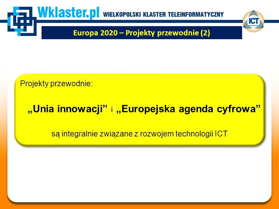 """Europa 2020 – Projekty przewodnie (2) Projekty przewodnie: """"Unia innowacji i """"Europejska agenda cyfrowa są integralnie związane z rozwojem technologii ICT"""