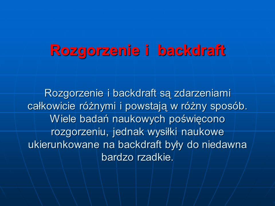 Rozgorzenie i backdraft Rozgorzenie i backdraft są zdarzeniami całkowicie różnymi i powstają w różny sposób.