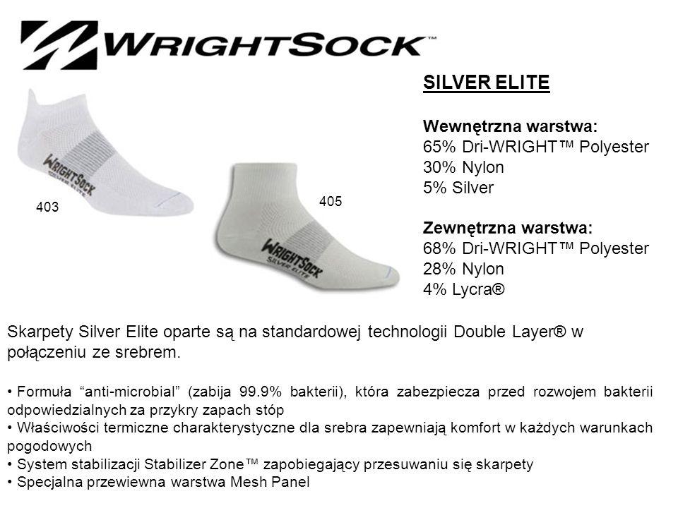 SILVER ELITE Wewnętrzna warstwa: 65% Dri-WRIGHT™ Polyester 30% Nylon 5% Silver Zewnętrzna warstwa: 68% Dri-WRIGHT™ Polyester 28% Nylon 4% Lycra® Skarpety Silver Elite oparte są na standardowej technologii Double Layer® w połączeniu ze srebrem.
