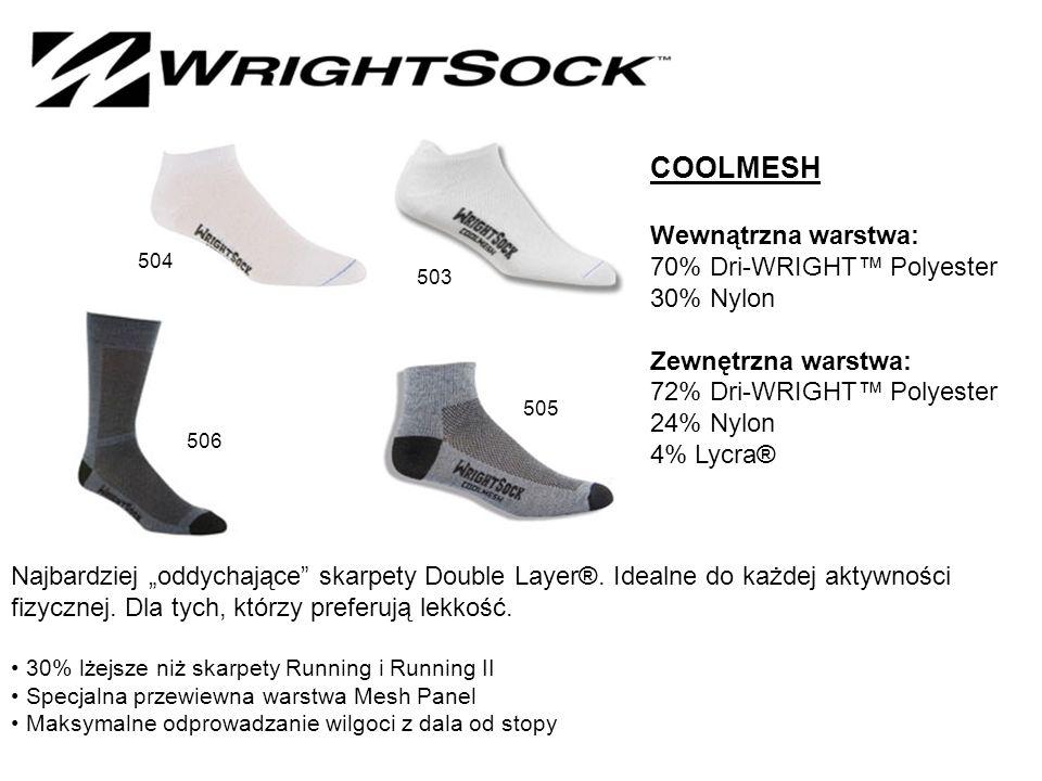 """COOLMESH Wewnątrzna warstwa: 70% Dri-WRIGHT™ Polyester 30% Nylon Zewnętrzna warstwa: 72% Dri-WRIGHT™ Polyester 24% Nylon 4% Lycra® Najbardziej """"oddychające skarpety Double Layer®."""