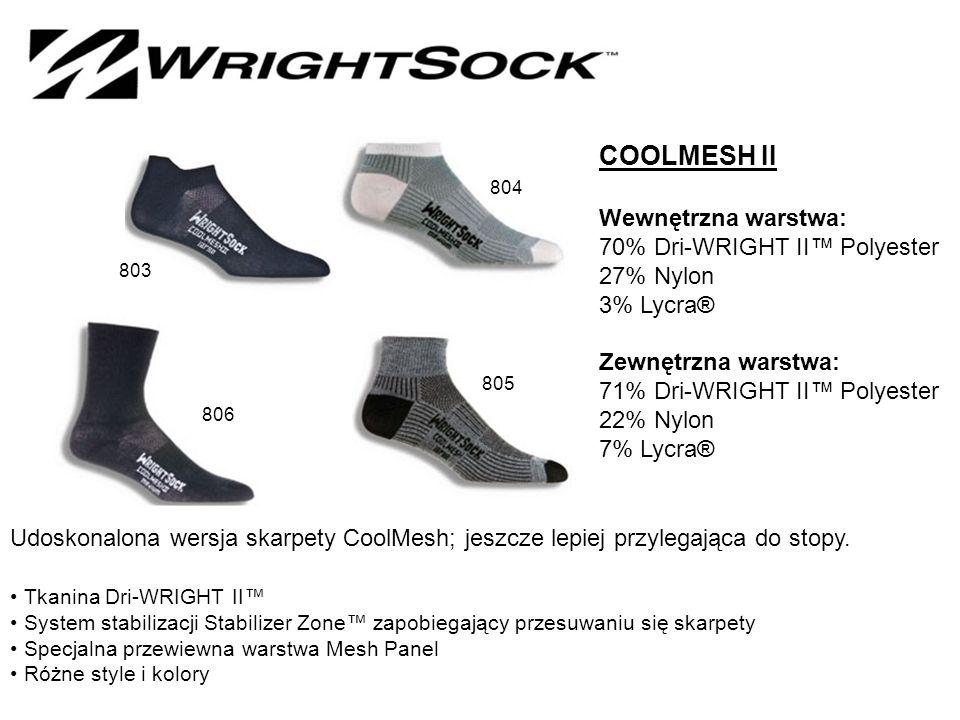 COOLMESH II Wewnętrzna warstwa: 70% Dri-WRIGHT II™ Polyester 27% Nylon 3% Lycra® Zewnętrzna warstwa: 71% Dri-WRIGHT II™ Polyester 22% Nylon 7% Lycra® Udoskonalona wersja skarpety CoolMesh; jeszcze lepiej przylegająca do stopy.