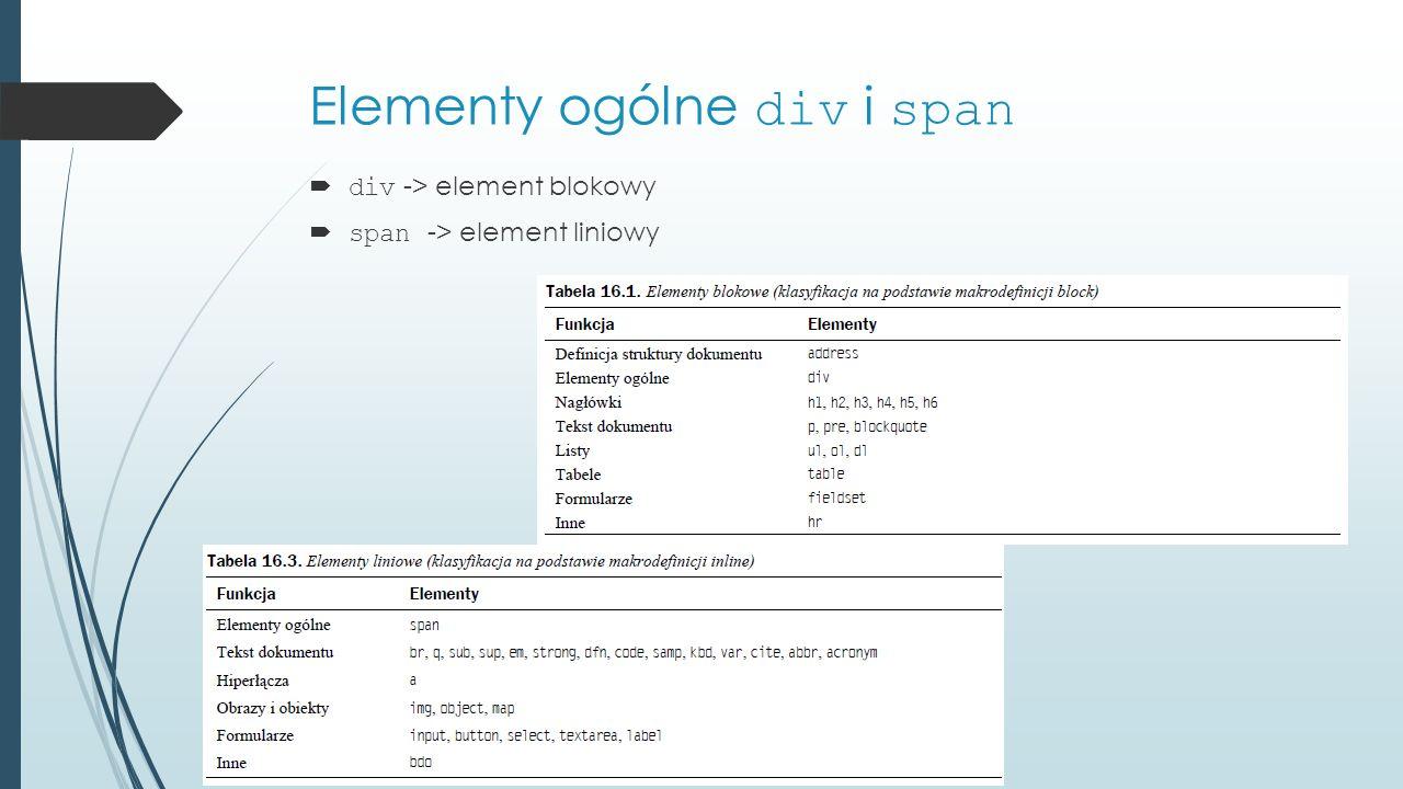 Elementy ogólne div i span  div -> element blokowy  span -> element liniowy