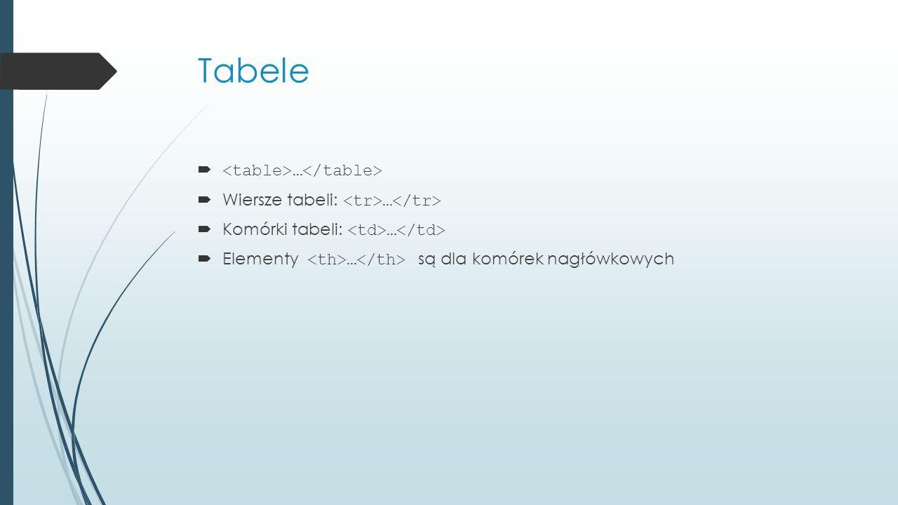 Tabele  …  Wiersze tabeli: …  Komórki tabeli: …  Elementy … są dla komórek nagłówkowych