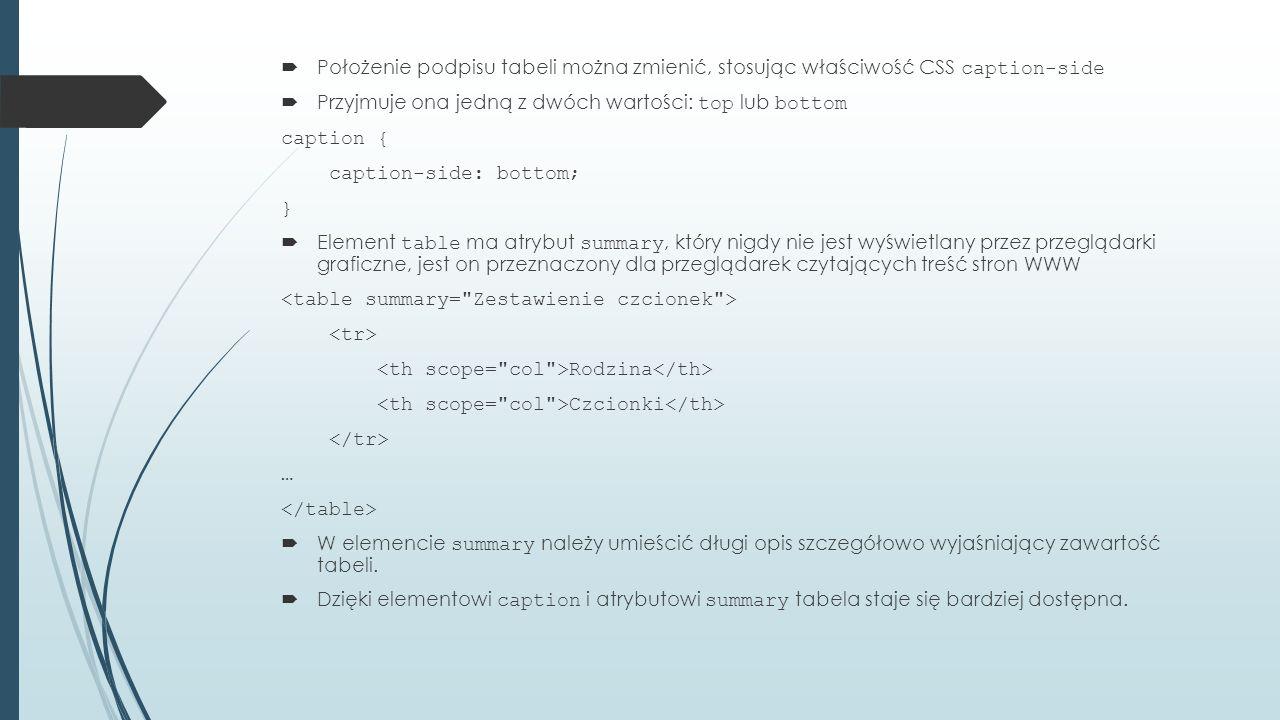  Położenie podpisu tabeli można zmienić, stosując właściwość CSS caption-side  Przyjmuje ona jedną z dwóch wartości: top lub bottom caption { caption-side: bottom; }  Element table ma atrybut summary, który nigdy nie jest wyświetlany przez przeglądarki graficzne, jest on przeznaczony dla przeglądarek czytających treść stron WWW Rodzina Czcionki …  W elemencie summary należy umieścić długi opis szczegółowo wyjaśniający zawartość tabeli.