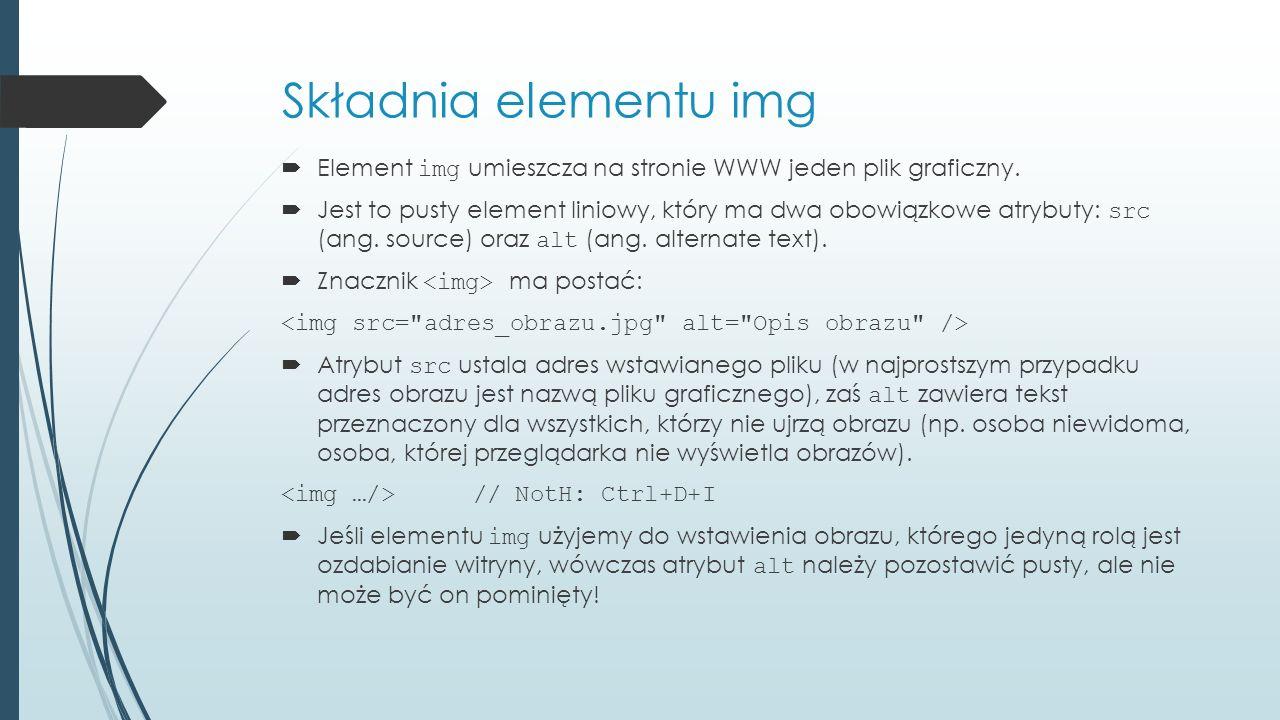 Składnia elementu img  Element img umieszcza na stronie WWW jeden plik graficzny.