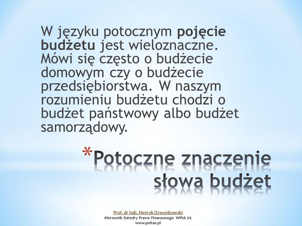 W języku potocznym pojęcie budżetu jest wieloznaczne.