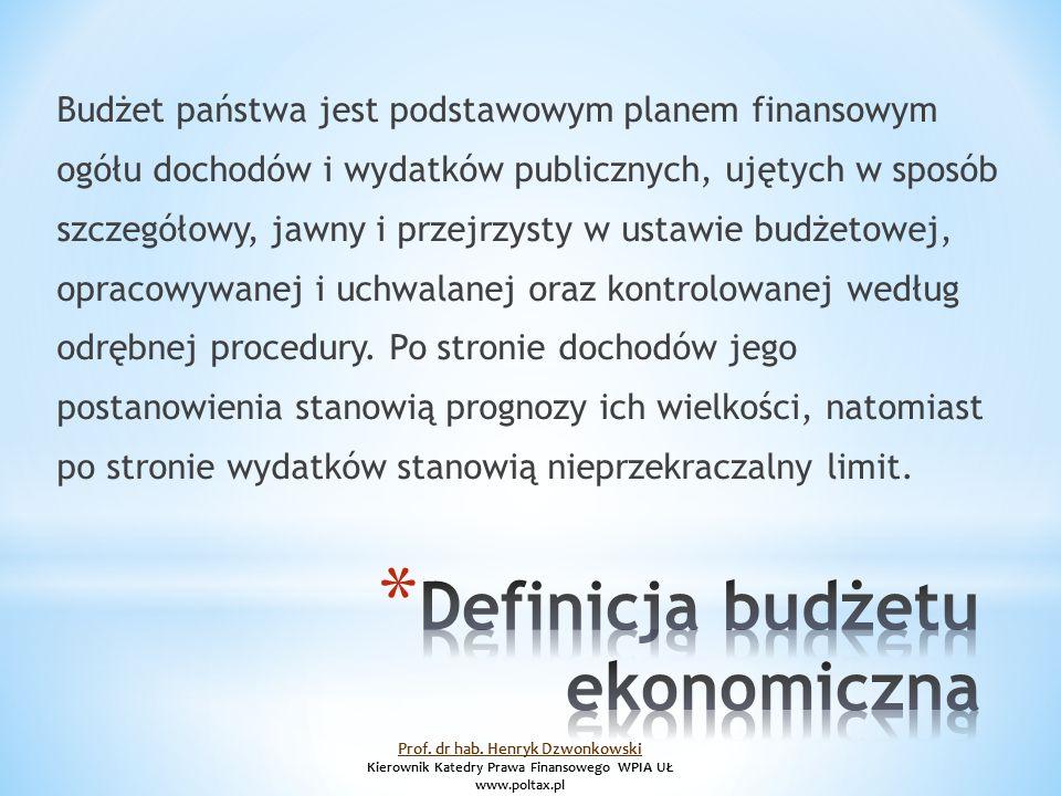 Budżet państwa jest podstawowym planem finansowym ogółu dochodów i wydatków publicznych, ujętych w sposób szczegółowy, jawny i przejrzysty w ustawie budżetowej, opracowywanej i uchwalanej oraz kontrolowanej według odrębnej procedury.