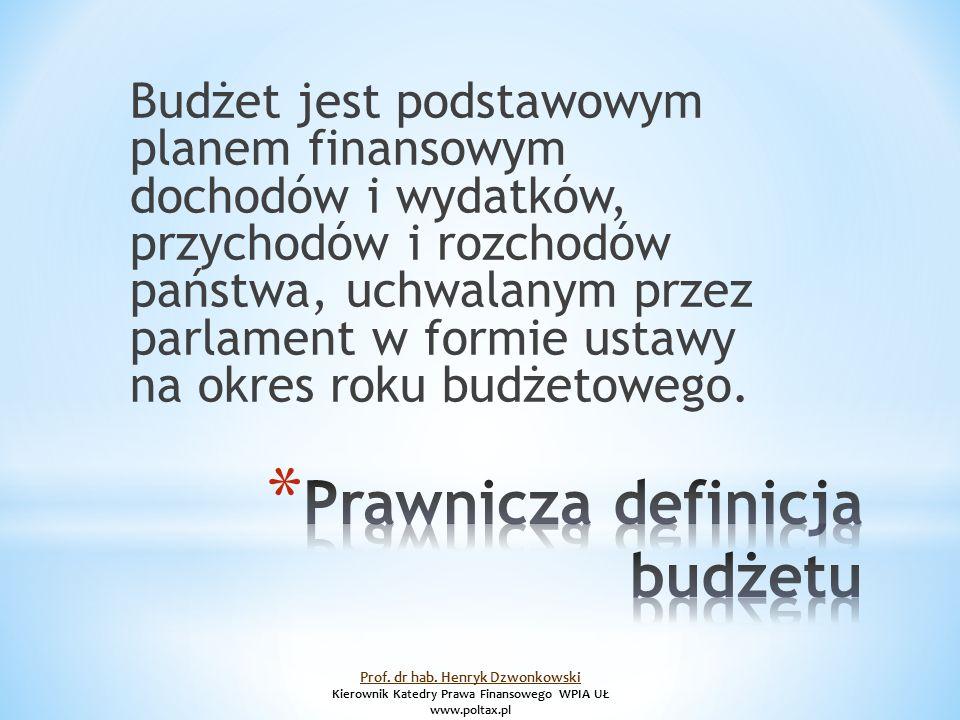 Budżet jest podstawowym planem finansowym dochodów i wydatków, przychodów i rozchodów państwa, uchwalanym przez parlament w formie ustawy na okres roku budżetowego.